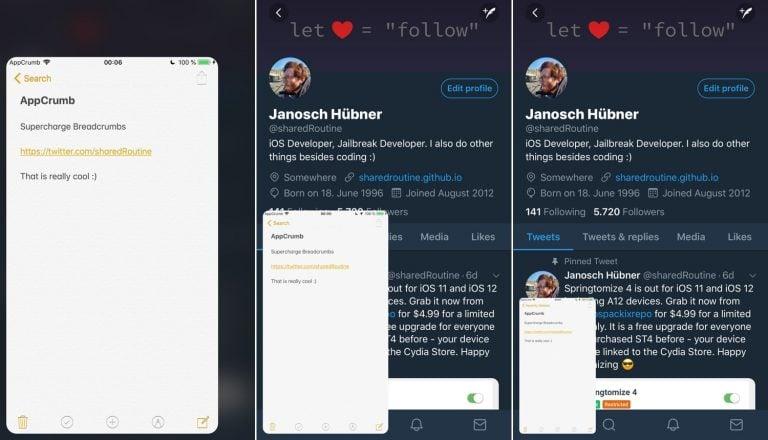 AppCrumb – Thay thế liên kết Breadcrumb của iOS bằng cửa sổ thú vị